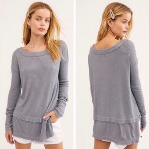 FREE PEOPLE Gray North Shore Slouchy Thermal NEW